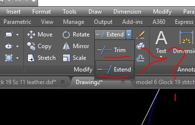 Extended and Trim Commands in AutoCAD